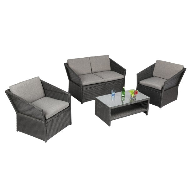Orianna Outdoor 4 Piece Sofa Seating Group with Cushions by Charlton Home