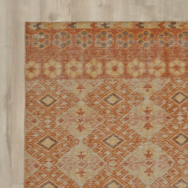 Aanya Hand-Knotted Orange Area Rug by World Menagerie