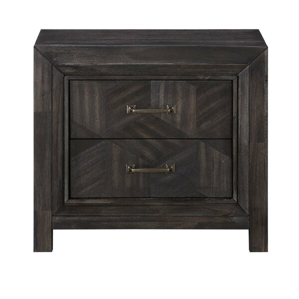 Coosada Geometric Design Wooden 2 Drawer Nightstand by Foundry Select
