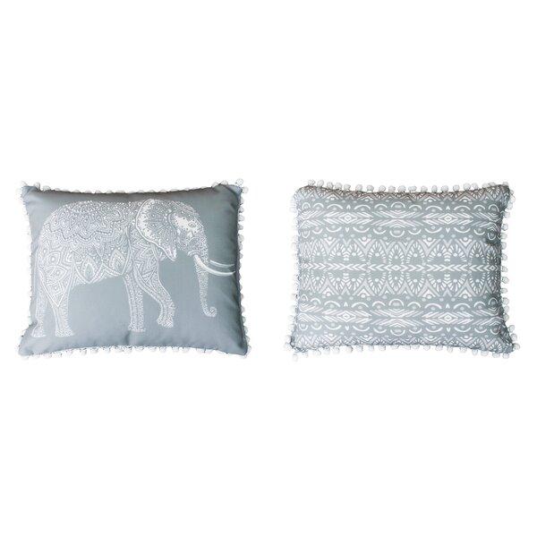 Attleboro Emmet Elephant Pom Pom Lumbar Pillow by Bungalow Rose
