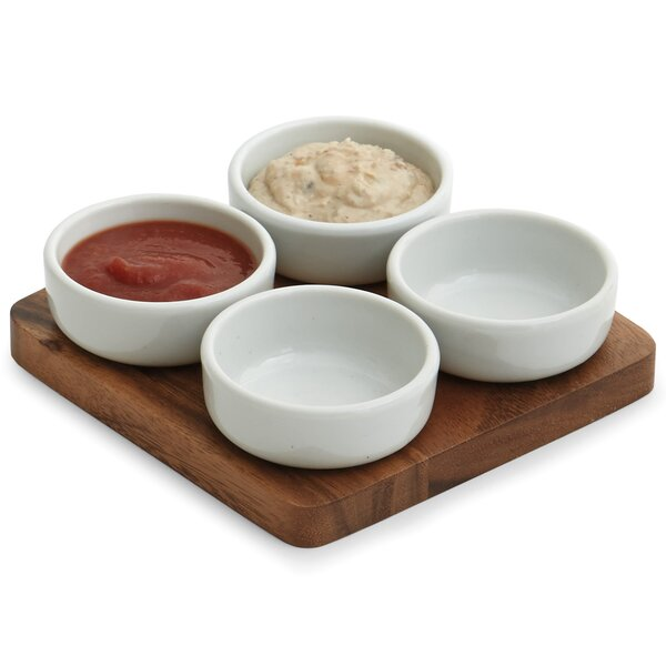Marine 5 Piece Acacia Wood/Ceramic Pinch Bowl Set by Mint Pantry