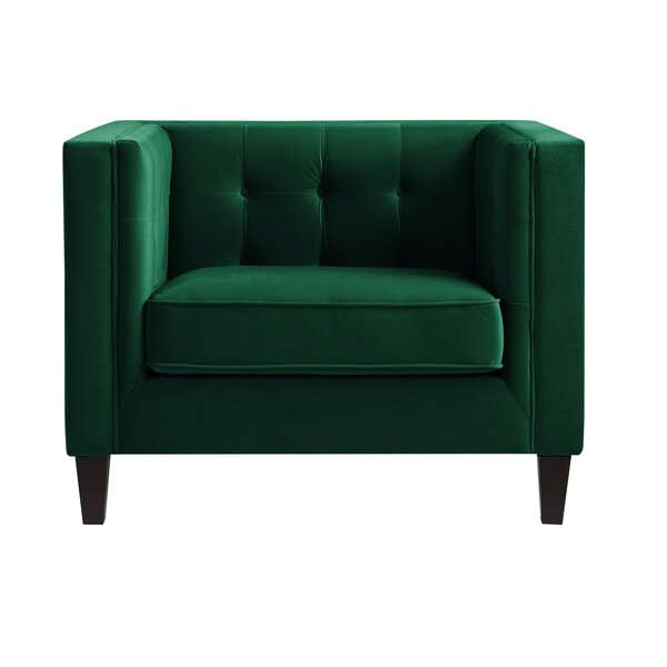 Overcash Velvet Button Tufted Square Tapered Leg Armchair by House of Hampton