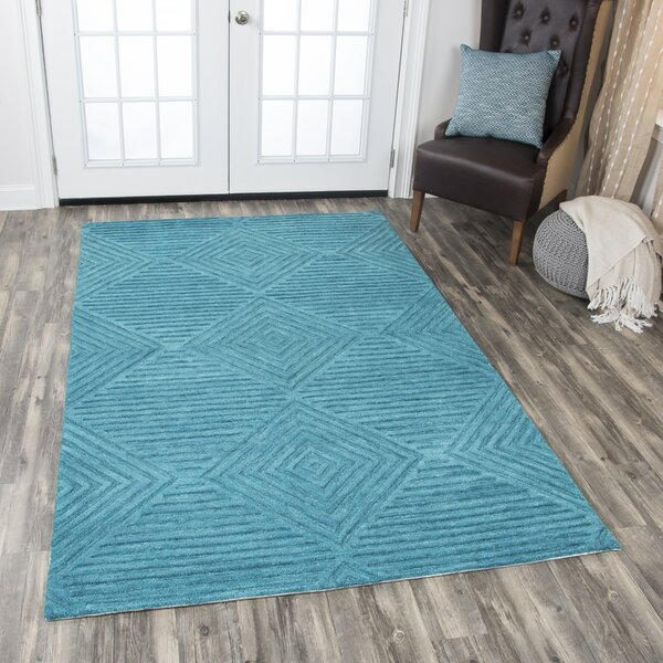 Arcand Hand-Tufted Teal Area Rug by Brayden Studio