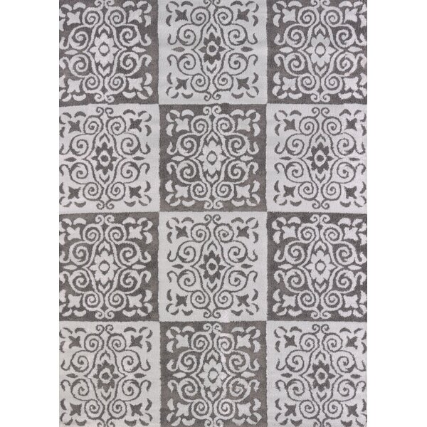 Modern Texture Velvet Cube Silver Area Rug by United Weavers of America