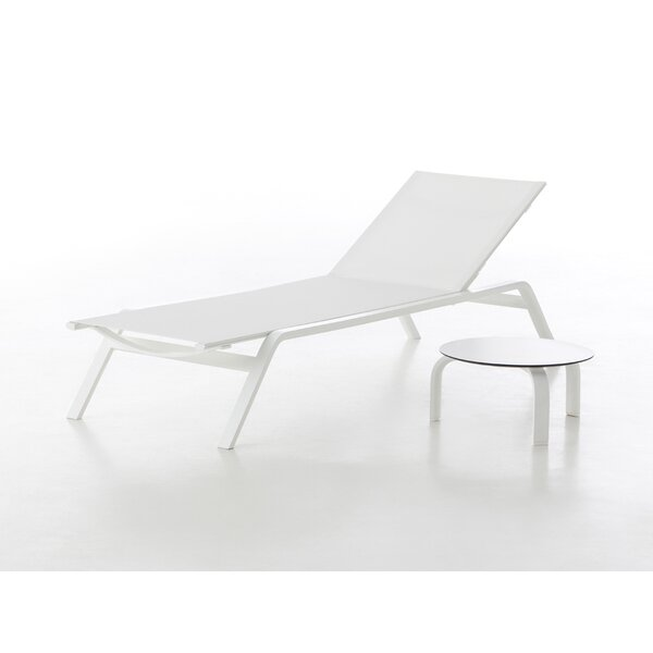 Stack Reclining Chaise Lounge with Table by Gandia Blasco