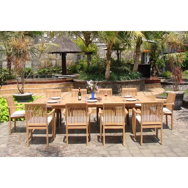 Grote Luxurious 11 Piece Teak Dining Set by Rosecliff Heights
