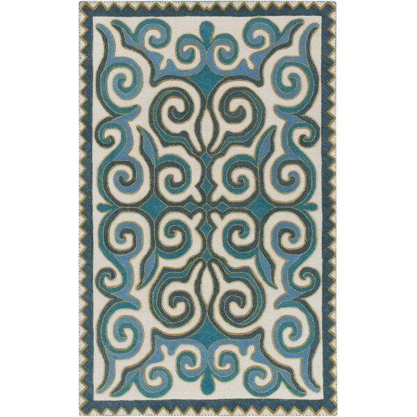 Retana Teal/Beige Area Rug by Bungalow Rose