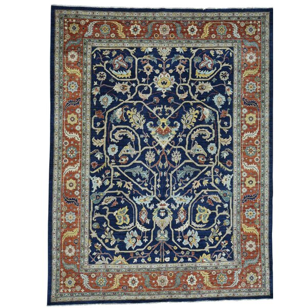 One-of-a-Kind Rueter Peshawar All-Over Hand-Knotted Navy Blue Area Rug by Astoria Grand
