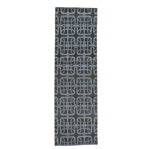 Durie Kilim Reversible Flat Weave Hand-Knotted Silver Blue/Chocolate Brown Area Rug by House of Hampton