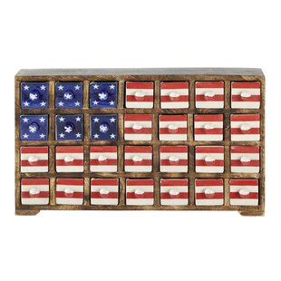 Curios Stars And Stripes 28 Drawer Wood Apothecary Accent Chest