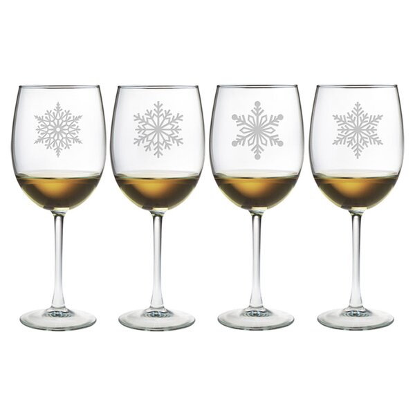 Paper Snowflakes Wine Glass by Susquehanna Glass
