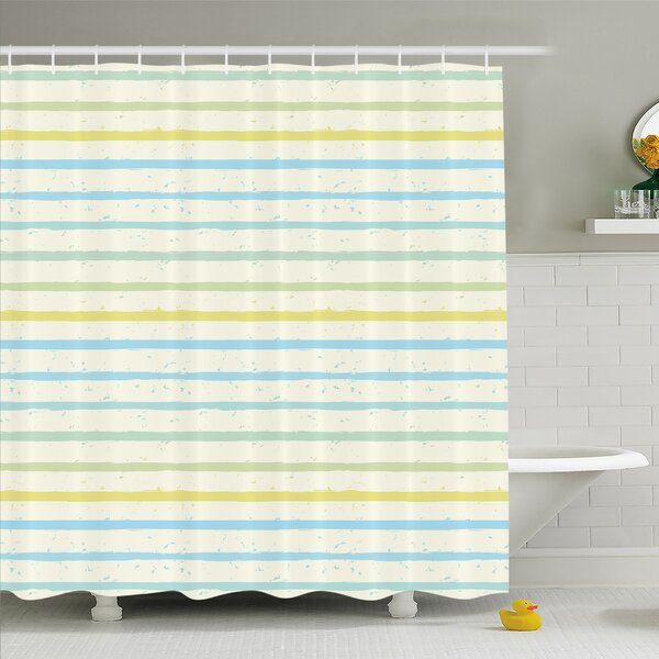 Striped Watercolor Paint Brush in Pastel Tone with Grunge Effects Nouveau Art Shower Curtain Set by Ambesonne