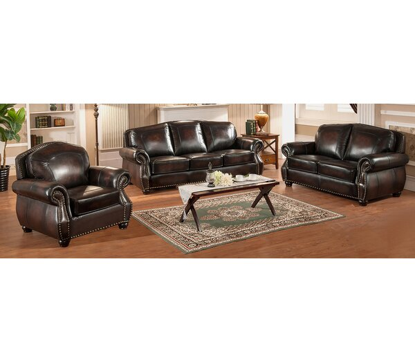 Vail 3 Piece Leather Living Room Set by Amax