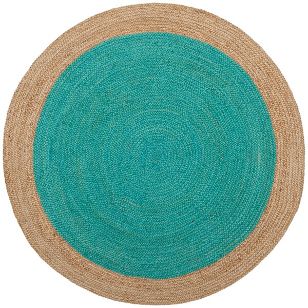 Cayla Fiber Hand-Woven Teal/Natural Area Rug by Beachcrest Home