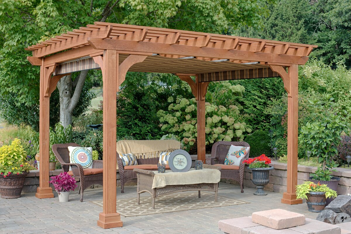 EZShade Canopy for 10 ft. x 12 ft. Cedar Pergola - YardCraft EZShade Canopy For 10 Ft. X 12 Ft. Cedar Pergola Wayfair