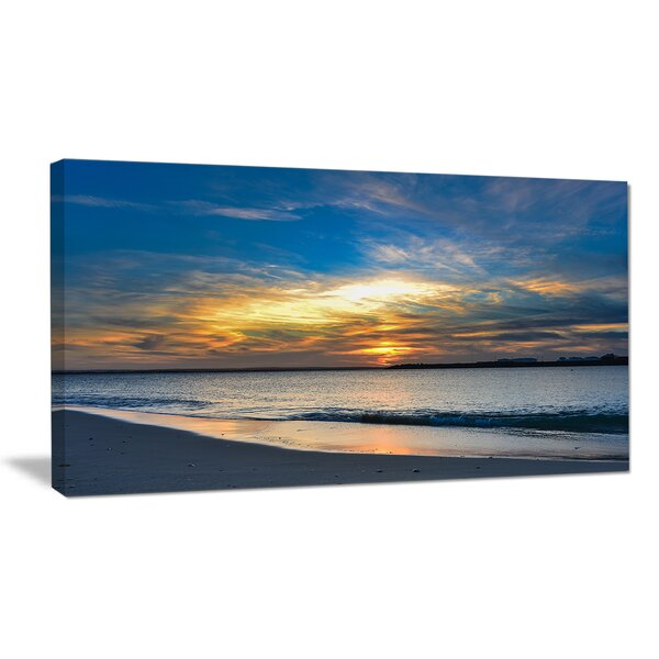 Bright Colorful Sydney Sky Over Beach Large Seashore Photographic Print on Wrapped Canvas by Design Art