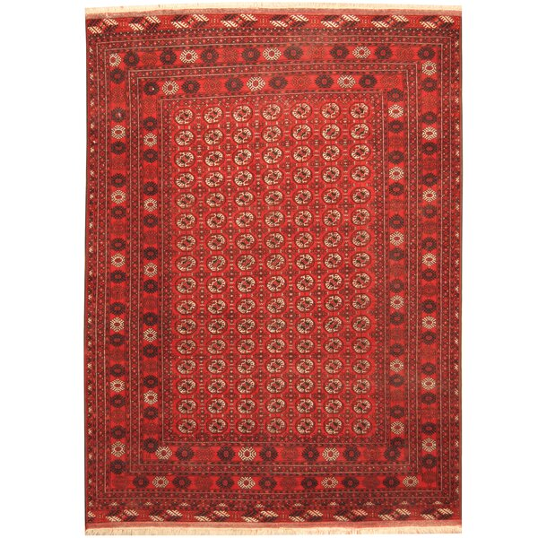 Afghan Tribal Turkoman Hand-Knotted Red/Ivory Area Rug by Herat Oriental