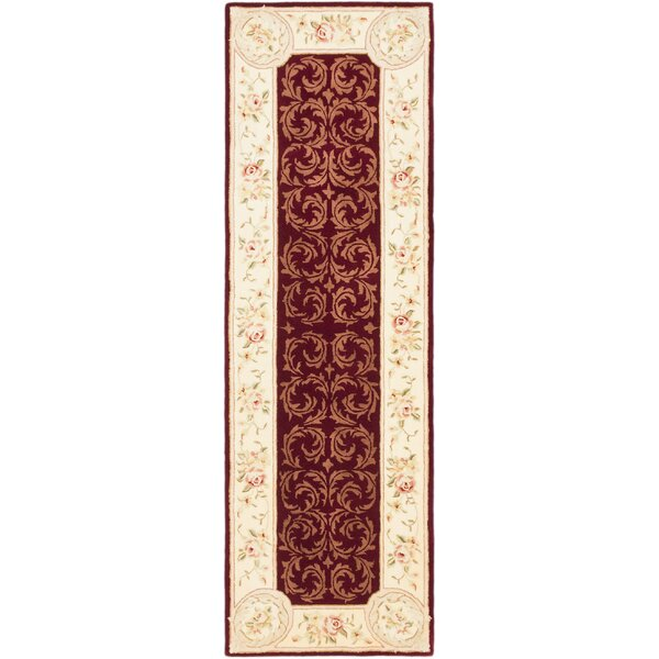 Savonnerie Traditional Hand Tufted Dark Red Area Rug by ECARPETGALLERY