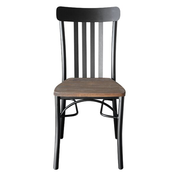Rusol Metal Slat Back Side Chair in Gray/Brown by REZ Furniture REZ Furniture