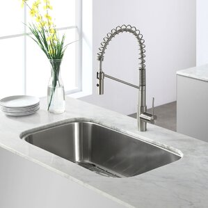 Stainless Steel 31 X 19 Undermount Kitchen Sink With Drain Embly