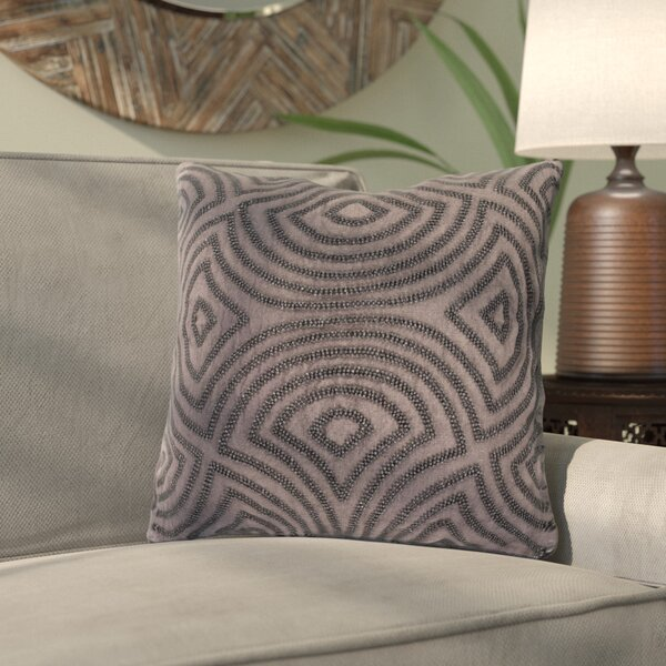 Abbara Linen and Beads Square Throw Pillow by Bloomsbury Market