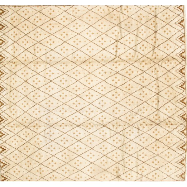 One-of-a-Kind Savonnerie Moroccan Hand-Knotted Wool Ivory Area Rug by Pasargad NY