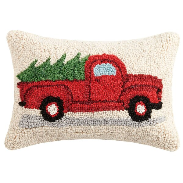 Tree on Truck Hook Wool Lumbar Pillow by The Holiday Aisle