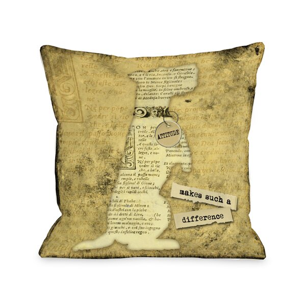 Doggy Décor Attitude Makes Such A Big Diffrence Throw Pillow by One Bella Casa