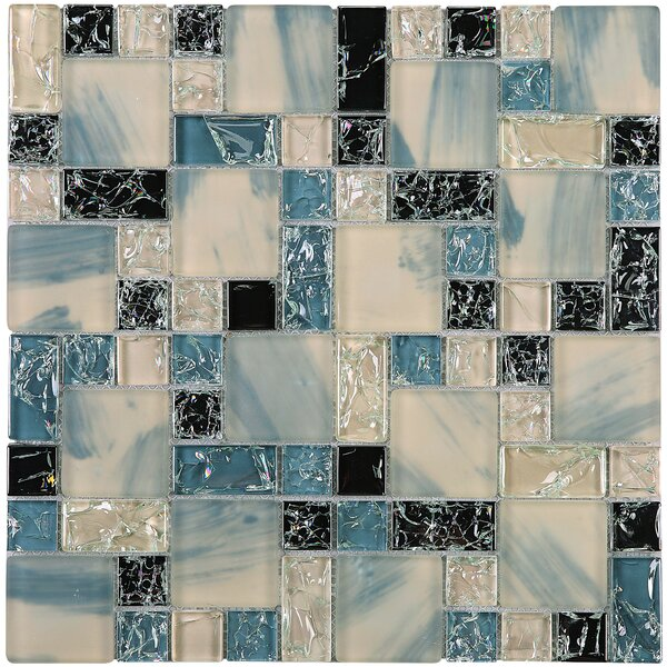 Crushed Random Sized Glass Mosaic Tile in Gray/Black by Multile