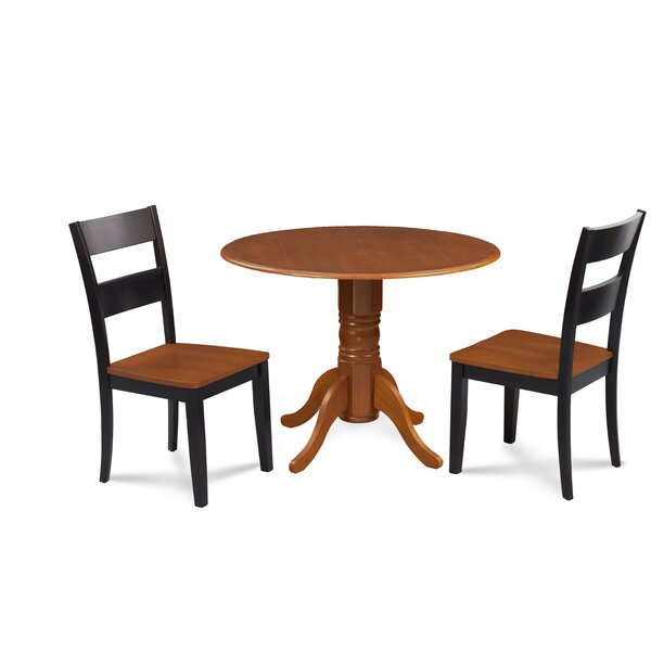 Severus 3 Piece Drop Leaf Solid Wood Dining Set by Millwood Pines