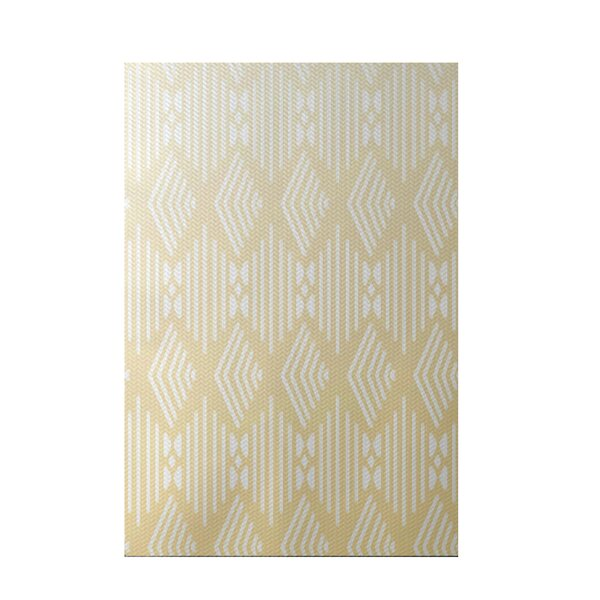 Fishbones Geometric Print Soft Lemon Indoor/Outdoor Area Rug by e by design