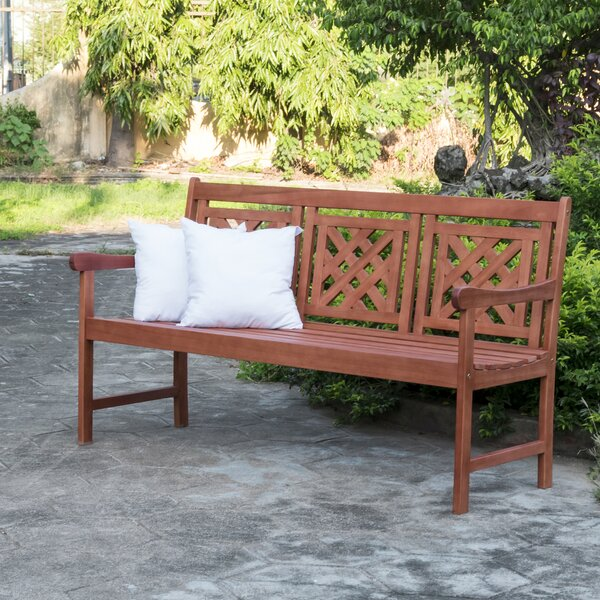 Serena Patio Plaid Wooden Garden Bench by Longshore Tides