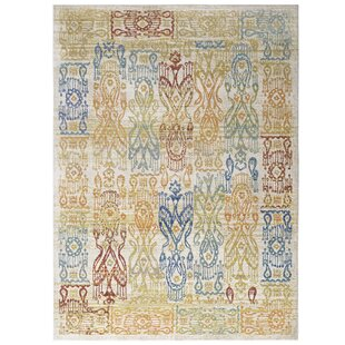 Donaldson Distressed Oriental Aztec Gold Blue Area Rug