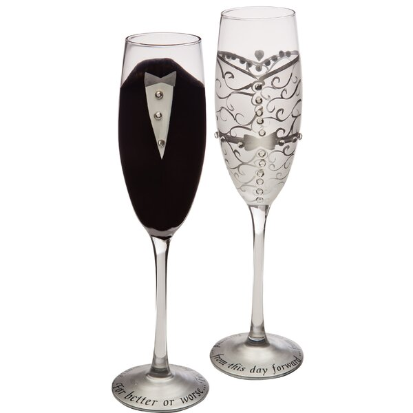Handpainted Bride and Groom Champagne Set (Set of 2) by The Holiday Aisle