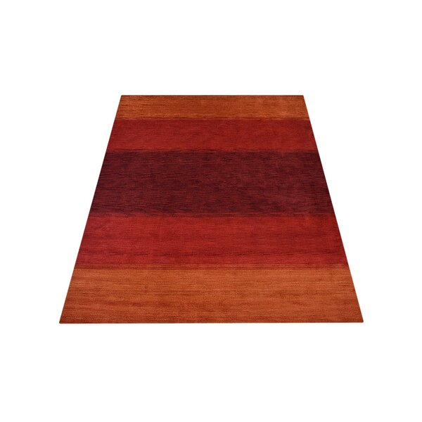 Ry Hand-Knotted Wool Orange/Red Area Rug by Latitude Run