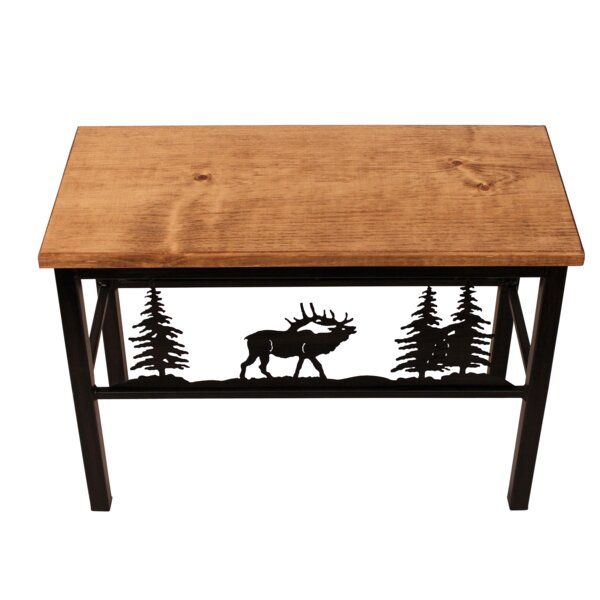 Francesca Elk Scene Wood/Metal Bench by Millwood Pines