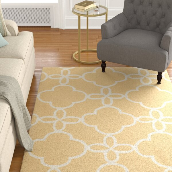 Hand-Hooked Gold/Ivory Area Rug by Alcott Hill