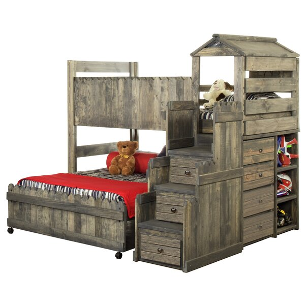 Ranieri Twin Over Full L-Shaped Bunk Bed with Mattress Drawers and Bookcase by Zoomie Kids
