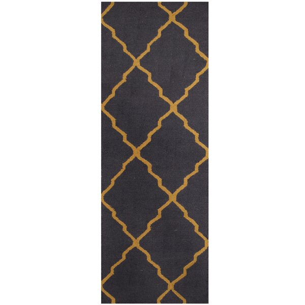 Hand-Tufted Navy/Light Gold Area Rug by Herat Oriental