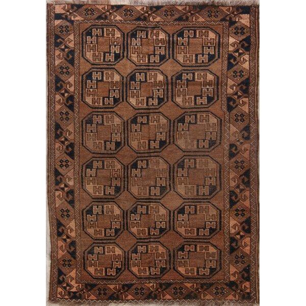 Skylar Turkoman Afghan Oriental Vintage Hand-Knotted Wool Brown/Black Area Rug by Bloomsbury Market