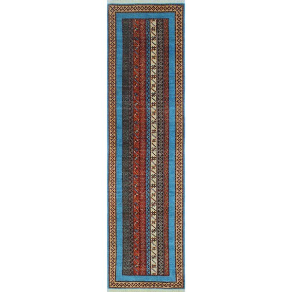 One-of-a-Kind Trevor Orzala Hand-Knotted Wool Blue Area Rug by Bloomsbury Market