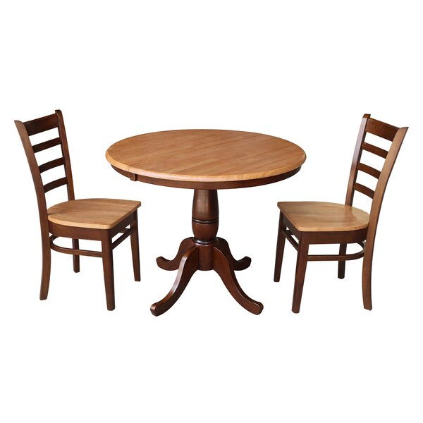 Petra Traditional Extendable Pedestal 3 Piece Solid Wood Bistro Set by August Grove August Grove