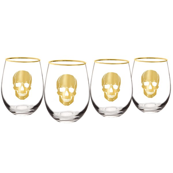 Gold Skull 19 oz. Stemless Wine Glass (Set of 4) by Cathys Concepts