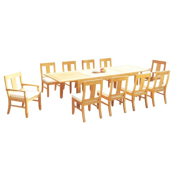 Lundys 11 Piece Teak Dining Set by Rosecliff Heights