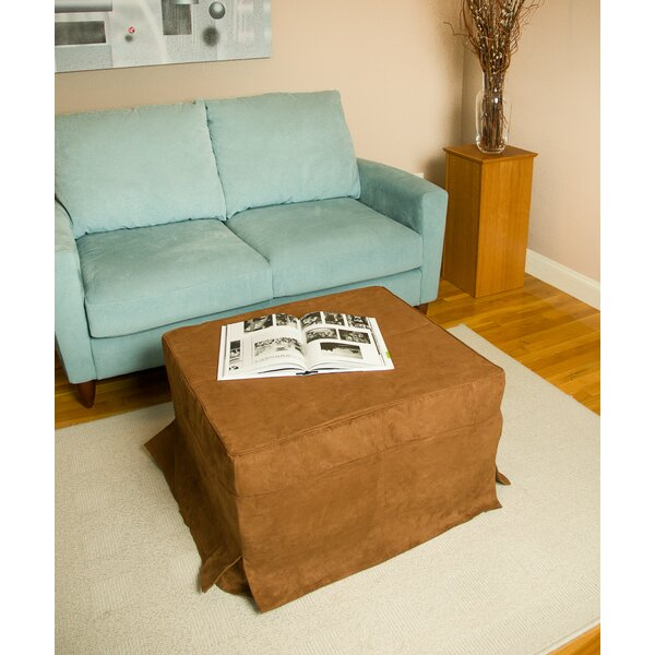 Low Price Brown Box Cushion Ottoman Slipcover