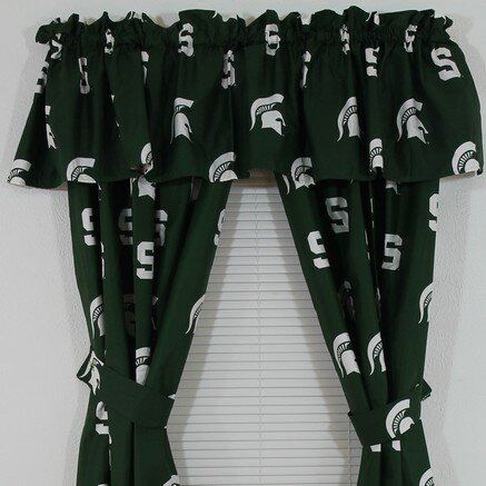 NCAA Michigan State Printed Sports Rod Pocket Curtain Panels (Set of 2) by College Covers