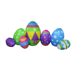 8 Foot Long Inflatable Colorful Patterned Easter Eggs Decoration by BZB Goods