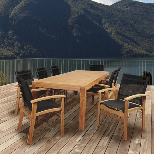Medrano Terrace 9 Piece Teak Dining Set by Longshore Tides