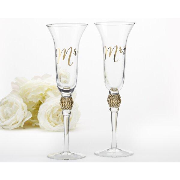 Mr. & Mrs. 6 oz. Champagne Flute (Set of 2) by Kate Aspen