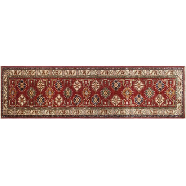 One-of-a-Kind Asberry Kazak Hand-Knotted Red Area Rug by Isabelline